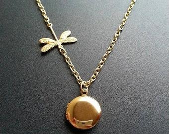 Tiny Locket Gold Dragonfly Necklace Tiny Gold Locket Gold Dragonfly Locket Necklace Mother's Day Gift For Her Tiny Round Locket Necklace