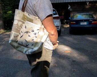 Gym Bag || Yoga Bag | Birds and Animals Tote Bag | Lined Tote Bag | Flora and Fauna | Yoga Gift | Yoga Lover | Big Lined Tote Bag Under 50