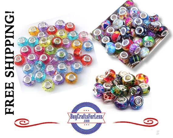 SALE ~ ASSORTED Beads, Glass and Acrylic, Large Hole, 50 pcs **FREE Shipping*