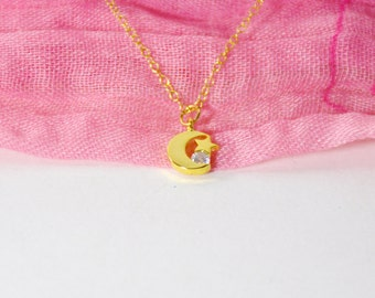 Moon and stars, moon and star, crescent moon, moon necklace, nursery decor, star necklace, to the moon and back, gold moon and stars, moon
