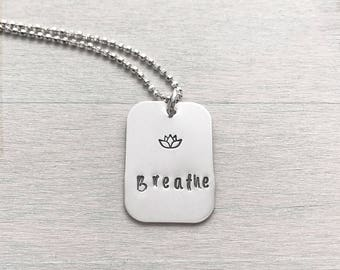breathe lotus necklace - tiny lotus - breathe necklace - lotus necklace - blooming lotus flower - breathe yoga jewelry - breathe necklace