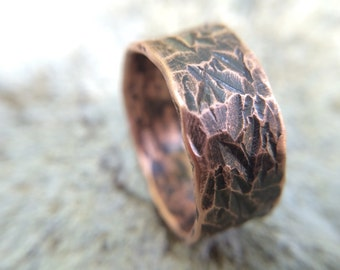 Distressed Copper Ring Men's or Women's - 9mm Rugged & Rustic 7th Wedding Anniversary Jewelry Gift - Size 9 or Custom Sizes Available