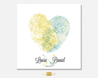 Fingerprint wedding guestbook. Thumbprint guest book heart. Thumbprint guestbook alternative heart. Thumb print unique guestbook