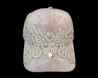 """Women's Baseball Hat, Jeweled Baseball Cap, Golf Visor, Bachelorette Party Baseball Cap in Grey Suede Cloth and Crystal Bling """"Leading Lady"""""""