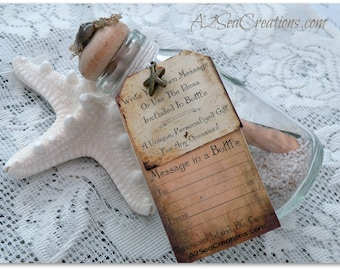 Message In A Bottle - Personal Beach Wedding Favor and Souvenier