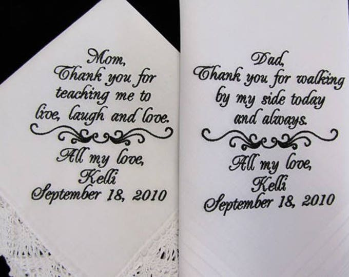 Wedding Handkerchiefs Personalized for Parents of the Bride, Mother of the Bride Gift Handkerchief, Father of the Bride Gift, Embroidered