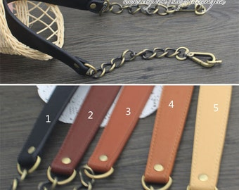 1 pc 60cm length leather handle purse handle purse leather strap purse handle bag handle leather with Brushed brass metal chain clasp handle