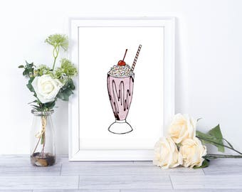Milkshake Watercolor // Printables