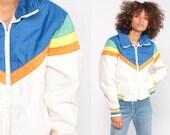Puffer Jacket Ski Jacket Retro 80s Striped Puffy Coat Winter 70s Color Block CHEVRON White Blue 1980s Hipster 1970s Puff Small Medium
