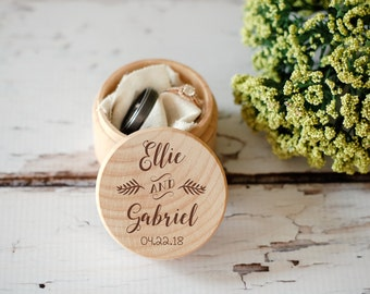 Custom Wedding Ring Box, Wooden Ring Box, Wedding Gift, Ring Bearer Box, Engraved Wooden Box, Custom Names Ring Box, With This Ring Box