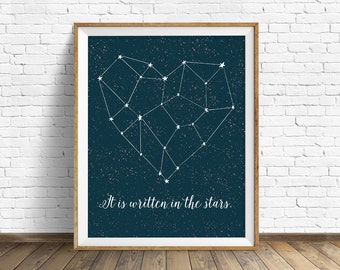 "wall art prints, instant download, printable art, heart, constellation, love, stars, quote art, quote prints - ""It is Written in the Stars"""