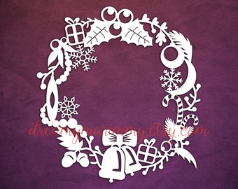 Christmas Papercut Templates,Christmas Wreath, Christmas Decoration, PDF cutting file, Commercial Use, PT-003