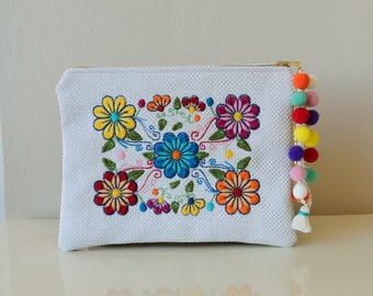 Embroidered Clutch,Embroidered Bag,Boho Clutch bag,Floral Clutch,Bohemian Clutch,Pompom Clutch White Clutch,Fabric Bag,White Clutch Purse