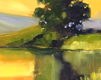 Landscape, Oil Painting, Small, 8x10 Canvas, Summer Reflection, Yellow Green, Tree, Original, Wall Decor, Golden Sky, Rural Lake, Pond