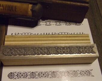 """Letterpress Printing Block """"Ornate Line Border"""" - Letterpress Blocks - Print Blocks - Mounted Letterpress Block - Magnesium Print Block"""