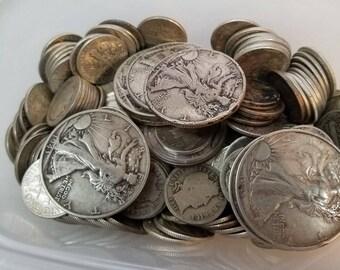 "1 dollar face value 90% silver coins  walking liberty, mercury dime, franklin half dollar bulk coins save shipping on multi. ""Junk silver"""