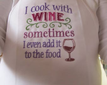 Embroidered Chef's Apron - Wine Lovers