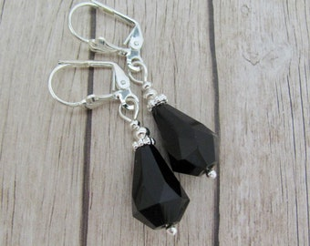 Jet Black Earrings, Vintage Faceted Glass Beads, Silver Plated Dangle Drops, Affordable Quality Jewelry, Hawaiibeads, Hawaiian Jewelry