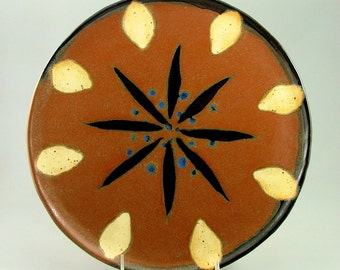 Round Mandala Hand-Built Platter - Red, with Black, Ivory, and Blue