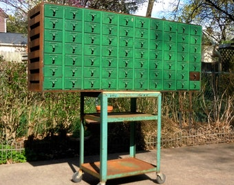 Vintage Industrial Library Card Catalog Cabinet / 70 Drawer Painted Library Card Cabinet / Green / Offered AS IS / Pick Up Available