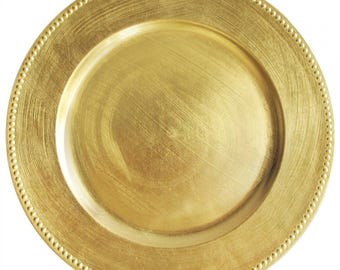 """12 PACK - 13"""" Round Metallic BRUSHED GOLD - Beaded Border Round Plate Chargers for Dinners, Weddings, Table Setting, Events, Decoration."""