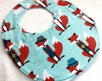 Baby Boy Bib or Baby Girl or Toddler Bib - Fabulous Foxes -  neutral cotton bib with terry cloth backing
