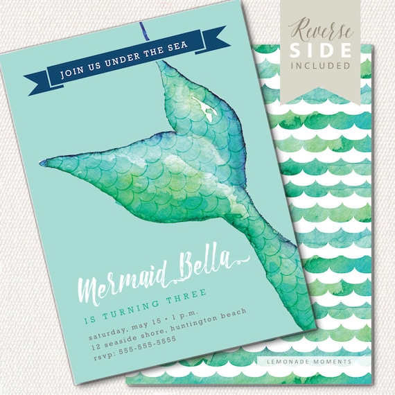 Mermaid Invitation Birthday Mermaid Pool Party Invite Under