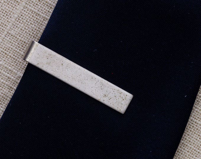 Silver Tie Clip Vintage Simple Brushed Metal Men's Accessories Add On 7WW