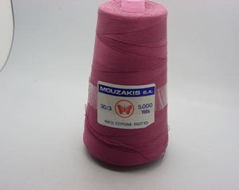 1 reel of cotton yarn 100% of 4500 m 250gr blue and pink wire Italian
