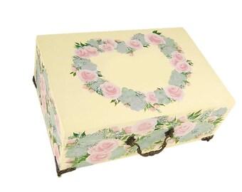 Hand Painted Memory Box - Large Keepsake Box, Blush Pink Roses Succulents Wildflowers Personalized Custom Keepsake Box Custom Birthday Box