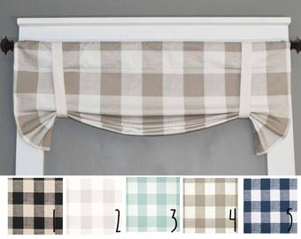 Plaid Valance   Buffalo Plaid   Kitchen Curtains   Kitchen Valance   Home  Decor   Farmhouse