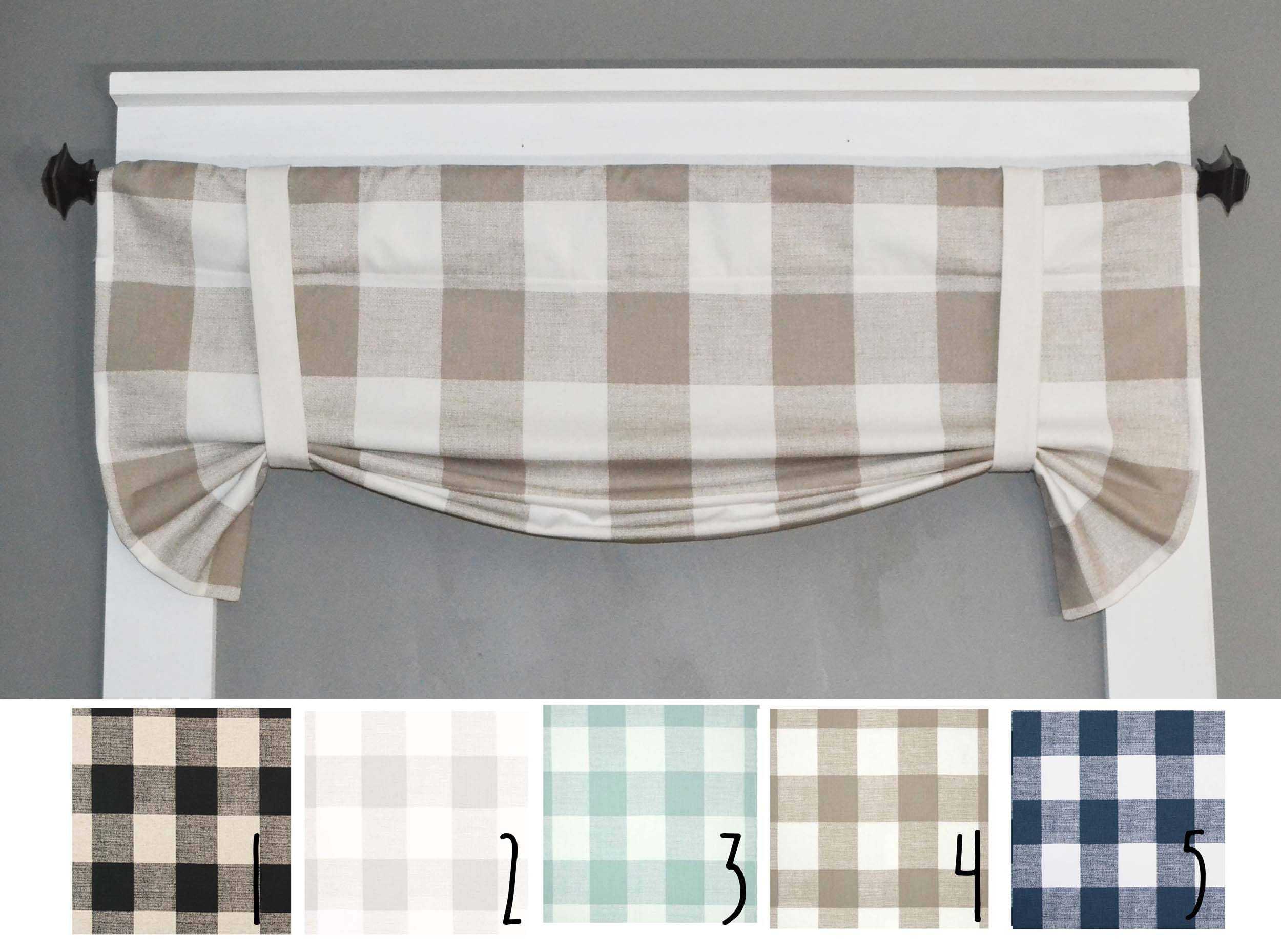 fresh design layer curtain double valances plaid kitchen pocket valance door dawson finished rod