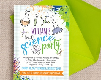 Personalised Mad Science Birthday Party Invitation Cards and Envelopes