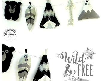 Tribal. Monochrome.  Felt garland. Nursery decor.