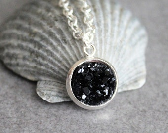 Black Druzy Necklace, Black Necklace, Black Pendant Necklace, Faux Druzy Necklace, Dainty Necklace, Present for Mom, Gift for Her