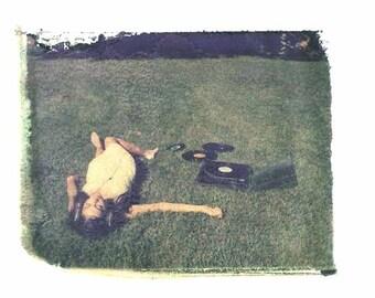 Photography Polaroid Green Records Music Vintage Art 4x5 Print