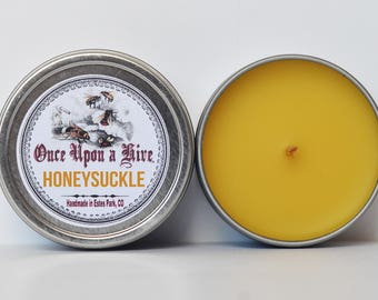 Honeysuckle Beeswax Candle Tin  4 oz. Candle | Natural | Travel Tin | Container Candle | Scented