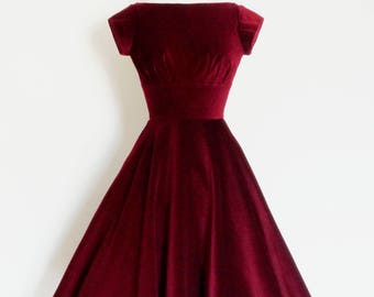 Deep Cherry Red Velvet Evening Dress with Circle Skirt and Cap Sleeves - Made by Dig For Victory