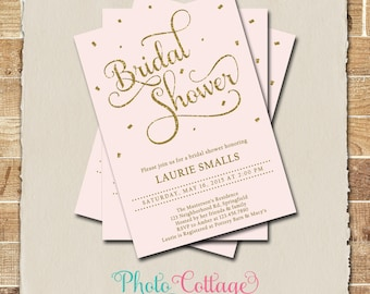 Bridal Shower Invitation, Gold Glitter Invitation, Light Pink Invitations, Bridal Shower, Pink Invitations, Gold & Pink Invitation, BS144