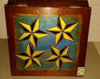 Vintage Cigar Box with Wood-burned and Painted Stars