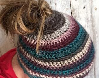 Messy bun hat, messy bun, Handmade hat, women's pony tail hat, ponytail hat, bun hat, crochet hat, women's hat, winter hat, fashion hat