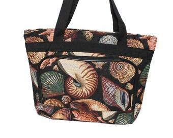 SEASHELL woven tapestry 80s 90s TOTE overnight messenger BEACH bag