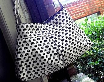 Hungry Hippo Bag - Black White Messenger Bag - 3 Pockets - Adjustable Strap