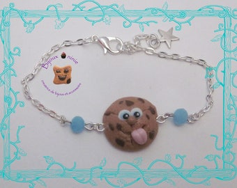 Bracelet my biscuit cookie rigolo in fimo.