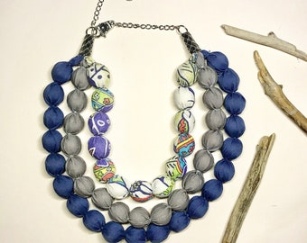 Textile necklace multistrand necklace three strand necklace fabric necklace massive necklace beaded necklace bib necklace gift for her