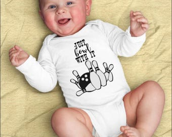 Bowling Onesie©, Just Bowl With It, Bowling Baby Gift, Bowling Baby Shower, Bowling League Gift, Just Roll With It, Funny Baby Clothes,