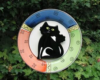 Black Cat Halloween Decor Plate Flower, Close Out Sale