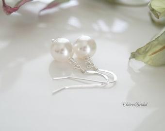 Wedding Earrings Swarovski Pearl Earrings Wedding Jewelry White Pearl Bridal Earrings Dangle Earrings Bridal Jewelry Sterling Silver