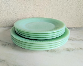Fire King Jane Ray Jadeite Dinner Lunch Salad Plates Vintage Jadeite Dishes Plate Set & Vintage Plates | Etsy
