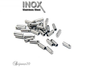 10 tips tube stainless 7x3mm to thread cord craft Lot M01213 stainless steel
